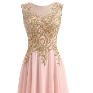 Gold Lace Line Long Chiffon Formal Corset Dress